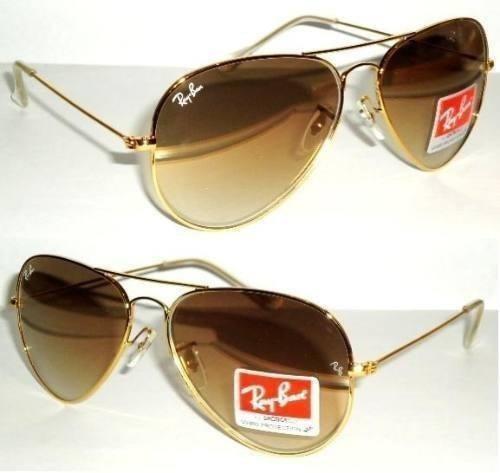 cdcf63cb0fae2 Óculos Ray Ban Aviador 100% Original Degradê Marrom Clássico - R ...