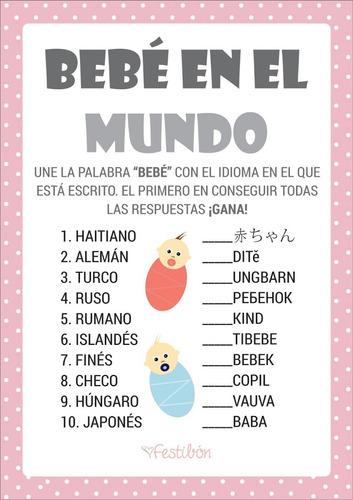 Juegos Para Baby Shower Imprimibles Niño Niña Promo 2x1   $ 35.00 En  Mercado Libre