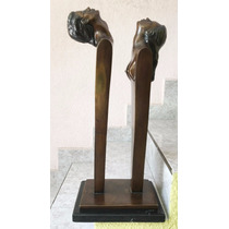 Lrc Pareja Silueta, Escultura De Bronce C/base Mármol