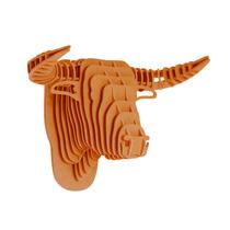 Toro Naranja Cabeza Decorativa Animal Trofeo Valchromat8mm