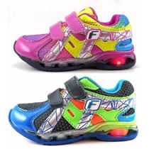 Zapatillas Con Luz Velcro Abrojo Multicolor Varon Nena 23-34