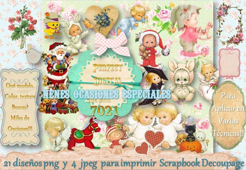 Kit Imprimible 25 Imagen Nenes Niños Tiernos Angelitos Shaby 173