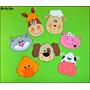 Caritas De Animales De Granja En Goma Eva De 9cm Pack X 7