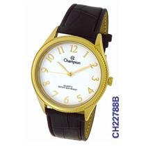 Relógio Champion Feminino Dourado/couro Ch22788b