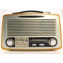 Rádio Retro Vintage Bluetooth Am Fm Usb Antigo Recarregável