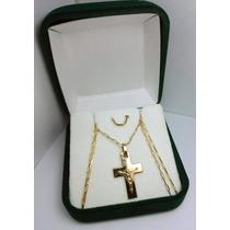 Cadena Y Cruz Con Cristo Maciza En Oro 18k Premiun Jr