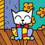 Quadro Estilo Romero Brito Gato Pop Art Quadro Gatinho 30x30