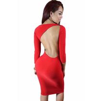 Moda Sexy Vestido Rojo Asimetrico Espalda Desnuda Fiesta
