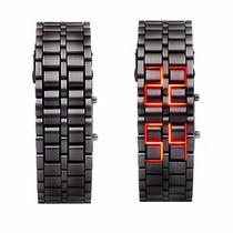 Relógio De Pulso Masc. Ferro Binário Faceless Led , Sob Enco