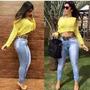 Calça Jeans Cintura Alta Hot Pants Levanta Bumbum
