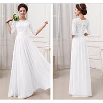 Vestido Blanco Encaje Raso Y Gasa Novia Delicada, Linda.