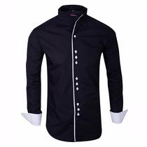 Camisa Entallada Importada Cuello Mao - Quality Import Usa