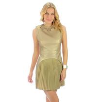 Vestido Couro Sintético Dourado Saia Plissada Planet Girls®