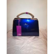 Cartera Lingyu Azul Patente Estilo Moda Asiática