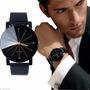 Reloj Elegante Vestir Casual Caballero Biselado Negro Hombre
