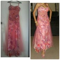 Vestido De Gala Con Pedreria Distintas Tonalidades De Rosado