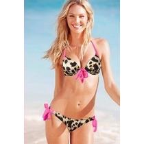 Trajes De Baño Damas Bikini Strapless Animal Print Flecos