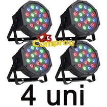 Kit 4 Refletor Led Par 64 Rgb 18 Leds 1w Strobo Digital
