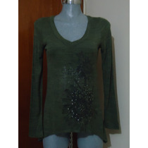 Blusa Casual Talla S-m Manga Larga Verde C/bello Estampado