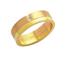Aliança De Ouro E Ouro Vermelho 18k 750 Com 2 Brilhantes De