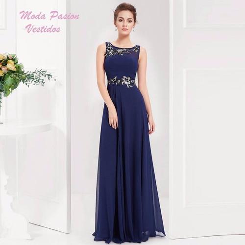 Vestidos azul de noche largos