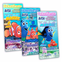 50 Invitaciones Impresas Buscando A Dory Nemo ¡en Oferta!