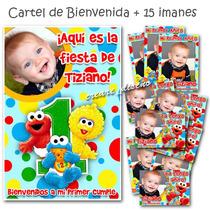 Cumple Primer Añito: Elmo Bb - 15 Souvenirs Imanes + Cartel