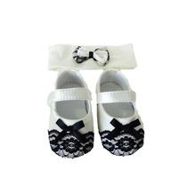 Kit Recem Nascido Sapato Tiara Kit Pimpolho Branco/renda