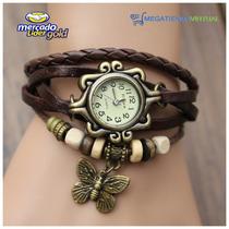 Reloj Pulsera De Cuero Vintage Para Dama Exclusivo