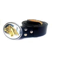Cinturón Artesanal De Cuero Hombre Negro - Tienda Inclusiva