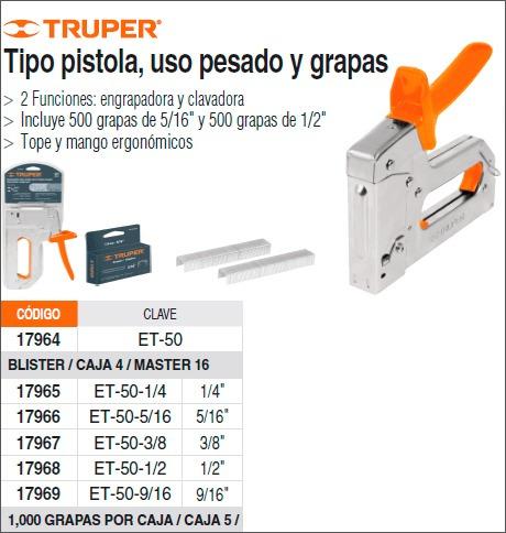 Engrapadora tipo pistola uso rudo truper 17964 - Clavos para tapizar ...