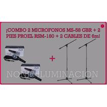 Combo 2 Micrófonos Ms58 Gbr + 2 Pies Proel Rsm180 + 2 Cables