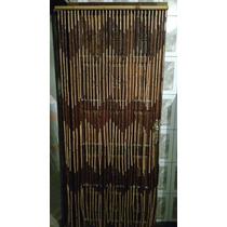 Cortina Porta Bambu Natural Feita A Mão 200x90cm Marrom/bege