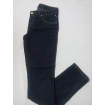 Calça Jeans Escura Com Brilho No Bolso De Tras Tam 38