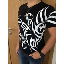 Camiseta Masculina Gola V Estampa Tribal Viscolycra Barato