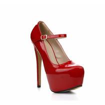 Tacon Con Plataforma Rojos Para Damas