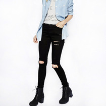 Calça Feminina Jeans Rasgada Destroyed Preta Cintura Alta M2