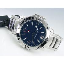 Reloj Tommy Hilfiger De Hombre Plateado Con Fondo Azul Nuevo