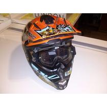 Capacete Nuvo S/ Luvas E Óculos Motocross Trilha Enduro