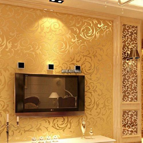 Estilo Moderno 3d Diseno Papel Tapiz Pared Fondo Gold - Tapices-de-pared-modernos