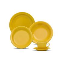 Aparelho Jantar Chá Café 30 Peças Oxford Floreal - Amarelo