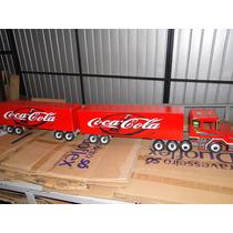 Show Caminhão Madeira Brinquedo Bi Trem Scania Bau Cocacola