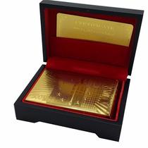 Cartas Baraja Poker Chapa Oro 24k Caja De Madera Euro 500