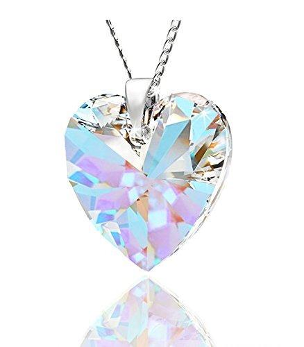 5d603798de61 Collar Con Corazón Colgante Hecho En Plata Ley 925 Y Crista -   200.900 en  Mercado Libre