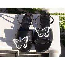 Sandalias Negras N°36 Con Aplique Mariposa. Ultimo Par!!!!