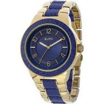 Relógio Feminino Euro Analógico Dourado/azul - Eu2036aimt4a
