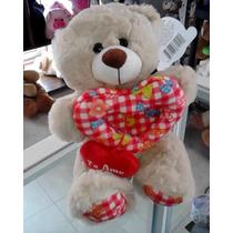 Oso De Peluche Teddy Doble Corazón 30 Cms