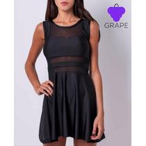 Vestido Lycra Negro Combinado Con Tul. Codigo Ch6145