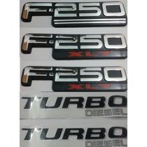 Kit Emblemas F-250 Xlt Turbo Diesel Laterais Traseiro Brinde