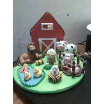 Adorno De Torta Granja Animalitos Porcelana Souvenir Cordoba